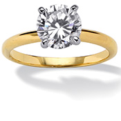 Tutone DiamonUltra(TM); CZ Classic Engagement Ring
