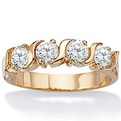 DiamonUltra(TM); CZ Wedding Band 14k Gold-Plated Ring