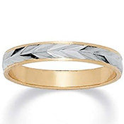 14k Gold-Plated Tutone Wedding Band Ring - A1496