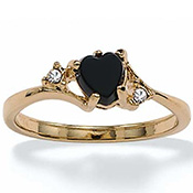 Onyx Heart w/ Crystal Accents 14k Gold-Plated Ring - A1500