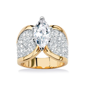 Marquise Cut Cubic Zirconia Wide Band Gold Ring - A1522