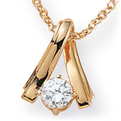 Diamonultra(tm); Cz Twist 14k Gold-plated Pendant - A1590