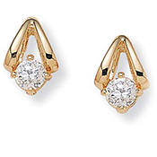 Diamonultra(tm); Cz14k Gold-plated Earrings