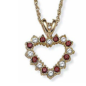 Simulated Ruby & Crystal Reversible Heart Necklace