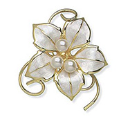 Simulated Pearl Flower Pin