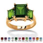Triple-Stone 18K Gold-Plated Birthstone Ring