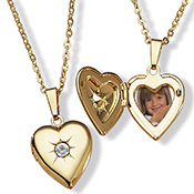 Goldtone Metal Birthstone Heart Locket - A1834