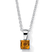 Princess Cut Birthstone Pendant Necklace - A1836