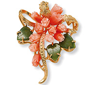 Genuine Goldtone Coral Flower Pin - A1839