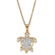 18K Gold-Plated Turtle Pendant Necklace