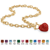 Birthstone Heart Pendant Chain Link Necklace - A1917