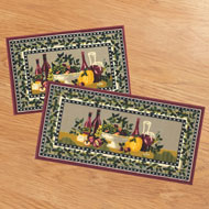 Tuscany Wine Theme 2pc Kitchen Rug Set - A1970