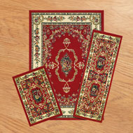 Savonnerie Red Floral Victorian Rugs - Set of 3 - A1992