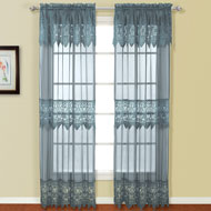 Valerie Lace Curtain Panel with Attached Valance - A2110