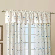 Loretta Sheer Voile Floral Window Curtain Valance - A2122