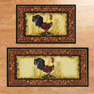 Charming Country Rooster Accent Rugs - Set of 2
