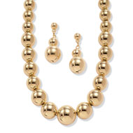 Gold-tone Beaded Necklace and Earrings Set - A2153