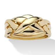 14k Gold-plated Braided Puzzle Ring - A2157