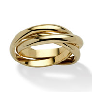 14k Gold-plated Rolling Triple Band Crossover Ring - A2158