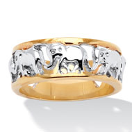 18k Gold-plated Elephant Caravan Ring - A2159