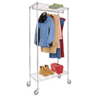 Chrome Rolling Garment Rack with Shelves - A2168