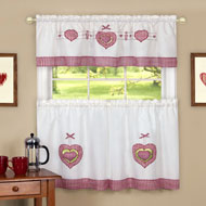 Gingham Country Hearts Cafe Curtain Set - A2199