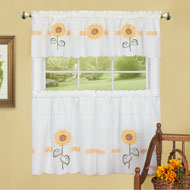 Sunflower Blossoms Country Style Cafe Curtain Set - A2200