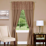 Embroidered Two Tone Trellis Curtain Set - 5pc - A2201