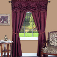 Elegant Panache Jacquard  Curtain Set - 5pc - A2202