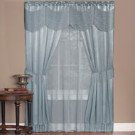 Halley Fringe Trim Curtain Set - 6pc - A2204