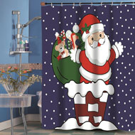Up on the Roof Top Santa Christmas Shower Curtain
