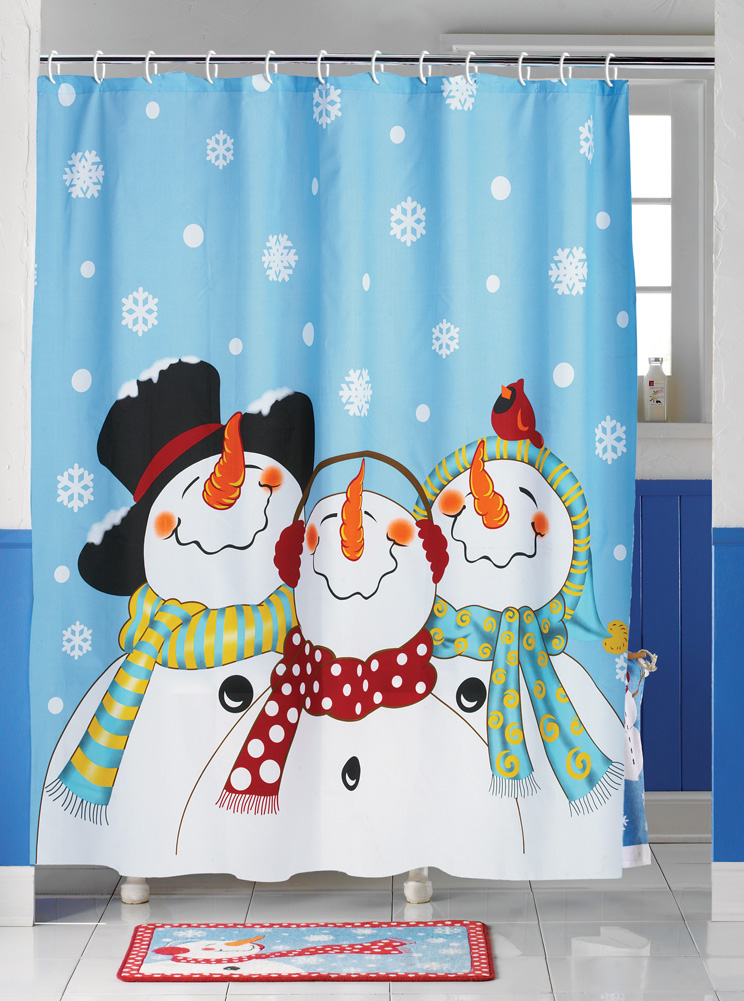 Frosty friends snowman christmas holiday shower curtain 71 for Christmas window decorations clearance