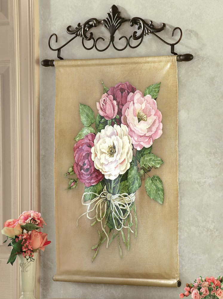 Floral Roses Wall Hanging Canvas with Metal Scroll Work ...