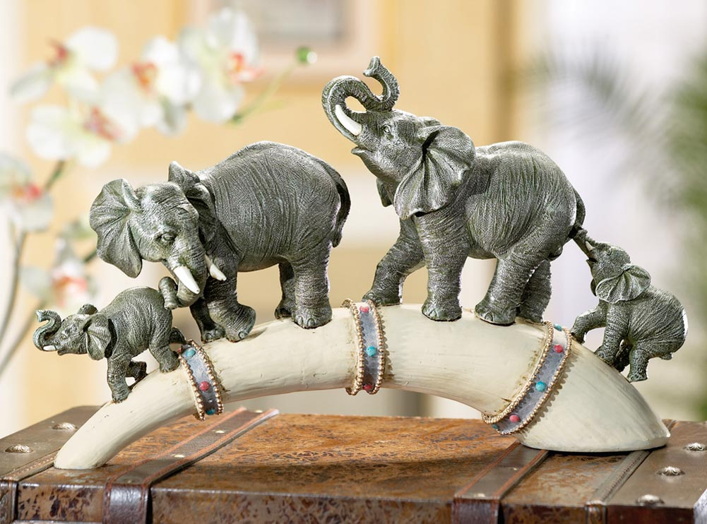 Safari home decor wildlife elephant family parade across horn base sculpture ebay Elephant home decor items