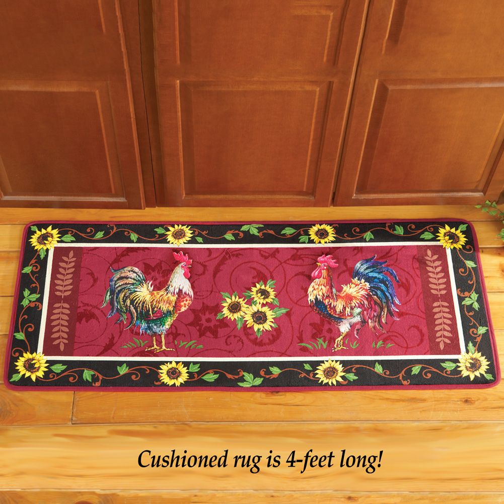 "Country Kitchen Rugs: CUSHIONED FRENCH COUNTRY ROOSTER SUNFLOWERS RUG MAT 48"" X"