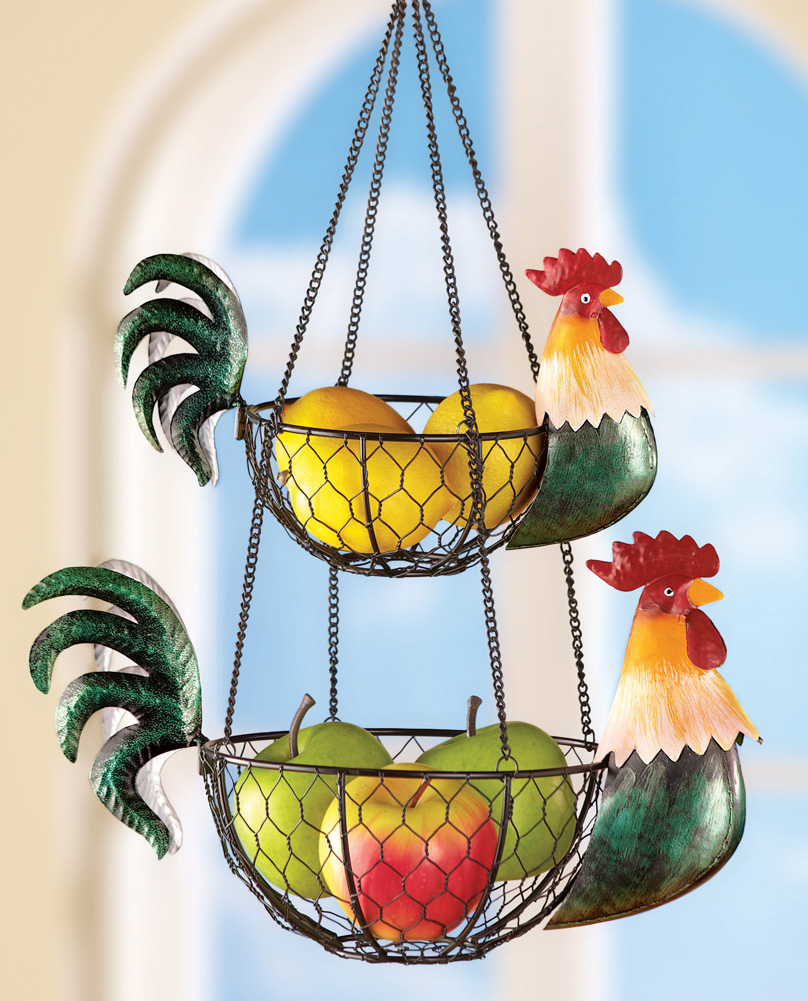 Rooster Kitchen Hanging Wire Baskets For Fruits Vegetables
